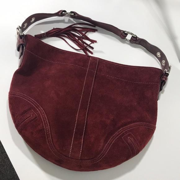 Coach Bags   Vintage Suede Leather Hobo Purse Burgundy   Poshmark 1e277f9b15